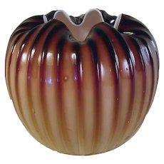 Plated Amberina Glass Rose Bowl