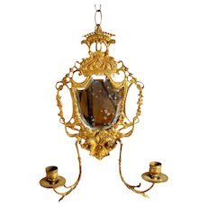 Wall-hanging Candelabra Sconce with Beveled Mirror - 1850's