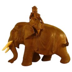 Fantastic Carved Elephant with Japanese Woman Scholar - 1880