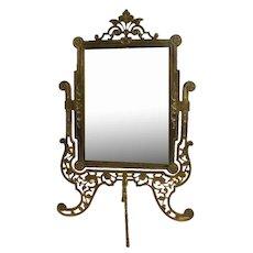Ornate Bronze Pedestal Mirror with Beveled Glass - 1860's