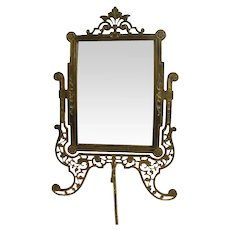 Ornate Bronze Pedestal Mirror with Beveled Glass - 1860's