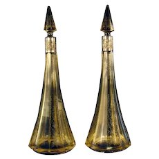 Large German Sterling Amber Cut Glass Decanters (Pair)