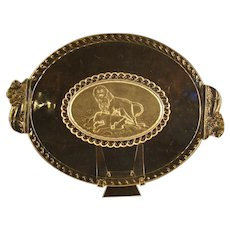 Early American Pattern Glass Bread Platter with Lions
