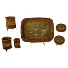 Mixed Metal Asian Tray and Accessories with Enameling - 1890's