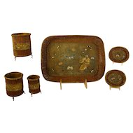 Fabulous Mixed Metal Asian Tray and Accessories with Enameling - 1890's