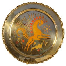 Large Art Deco Sterling Plate with Horse and Enameling