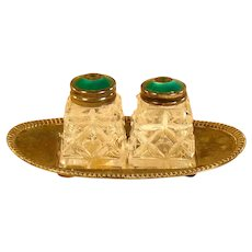 Sterling and Galouche Cut Glass Salt & Pepper on Tray