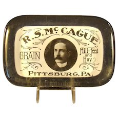 Paperweight with Milk Glass Advertisement - Pittsburgh, Pennsylvania
