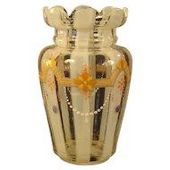 Opalescent Enameled Cut Glass Vase