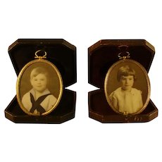 Miniature Portraits on Glass with Leather Cases - 1890's