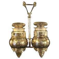 Fantastic Silver Plated Victorian Holder with Cut Glass Apothecary Jars