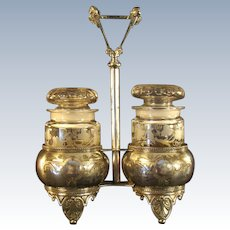 Silver Plated Victorian Holder with Cut Glass Apothecary Jars