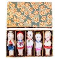 Set of Five Bisque Dolls in Original Box