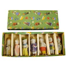 Bisque Dolls in Original Box (Set of Seven)
