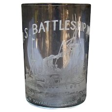 Etched Whiskey Glass - U.S. Battleship Maine