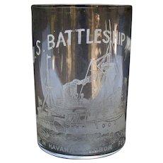 Etched Whiskey Glass - U.S. Battleship Maine