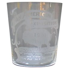 Pan American Exposition Whiskey Glass - Buffalo, NY - 1901 - Bison Etching