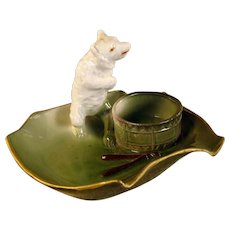 Porcelain Polar Bear Match Holder Ashtray