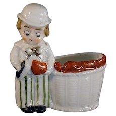 German Porcelain Hand Painted Little Boy Match Holder