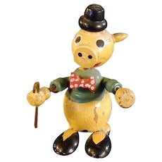 Hand Painted Wooden Springer Pig with Hat