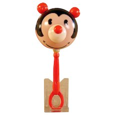 Early Disney Celluloid Pie-Eyed Mickey Mouse Baby Rattle