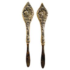 Sterling Handled Repoussé Nail Knives (Pair)