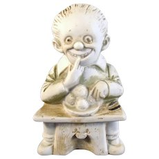 German Heubach Bisque Figure - Man Eating Meatballs - 1920's