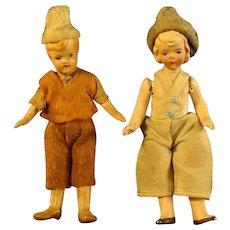 German Bisque Hand Painted Dollhouse Dolls - Boy & Girl