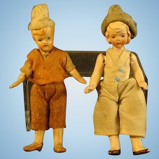 German Bisque Hand Painted Dollhouse Dolls - Boy & Girl