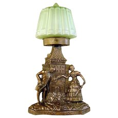 "Art Deco Mood Lamp, Radio Lamp with Green Satin Glass Shade - ""Love Meets"""