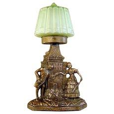 "Art Deco Mood Lamp, Radio Lamp with Green Satin Glass Shade - ""Love Meets"""