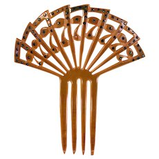 Green Celluloid Mantilla Hair Comb