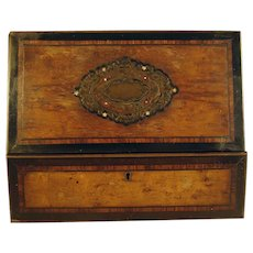 Victorian Walnut and Mixed Woods Inlaid Lap Desk