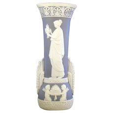 Schafer & Vater Blue Jasperware Vase - Woman and Cherubs