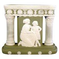 Rare Schafer & Vater Green Jasperware Column Vase - Woman and Child