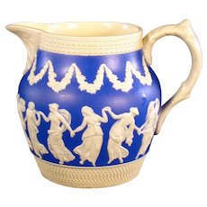 Copeland England Blue Pitcher with Dancing Victorian Women