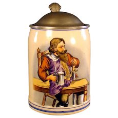 German Hand Painted Stein with Pewter Lid - 1910