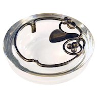 Danish Sterling and Glass Ashtray