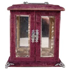 Perfume Display Carrier with Beveled Glass and Velvet - 1880's
