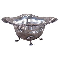 Sterling Pierced Candy Dish with Claw Feet - 1910