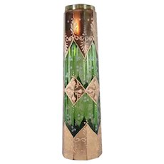 Moser Hand-Painted Ten-Sided Enameled Glass Vase