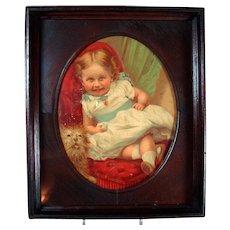 Victorian Walnut Oval Chromolith - Child and Dog