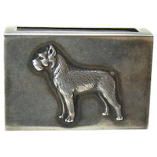 Sterling Match Safe with Applied Cast Figural Dog - George Henckel & Co. - 1910