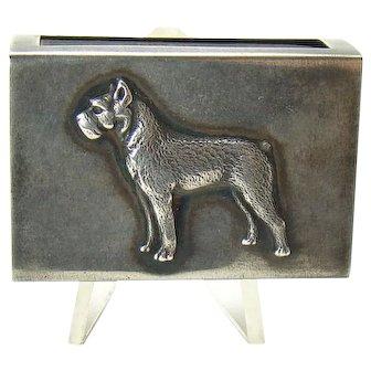 Sterling Match Safe with Applied Cast Figural Dog - George Henckel & Co. - 1910
