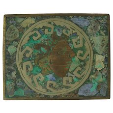 Mixed Metals Turquoise & Malachite Brass Box
