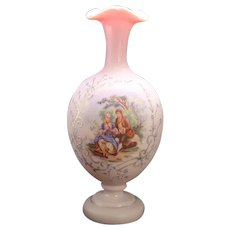 Peach Satin Enameled Bristol Portrait Vase - 1890's