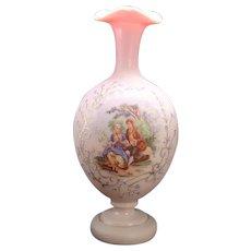 Peach Satin Enameled Bristol Portrait Vase - 1890's