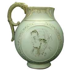 Continental Semi Vitreous Porcelain Water Pitcher with Peasant Women and Gargoyle Handle