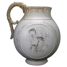 Continental Semi Vetrious Porcelain Water Pitcher with Peasant Women and Gargoyle Handle