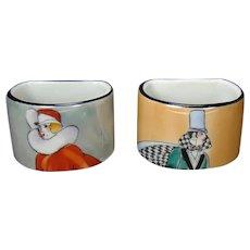 Art Deco Noritake Porcelain Napkin Rings (Pair)